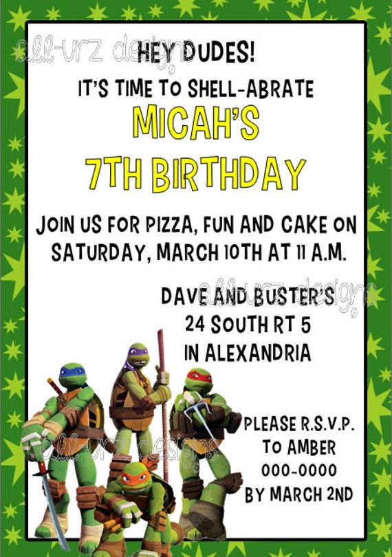Personalized Ninja Turtle Birthday Invitations for amazing invitations ideas