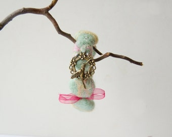 Hummingbird Felted bracelet, mint green bracelet, pink and yellow, pastel colours, felted beads, eco friendly,