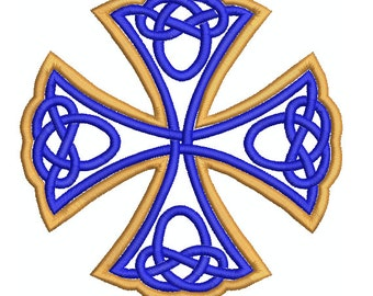 Machine Embroidery Design Instant Download - Celtic Iron Cross (two tone)