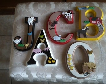 CUSTOM Wooden Hanging Wall Letters - Nursery or Child's Bedroom - Animal Barnyard Nursery; Farm Animal Wall Letters