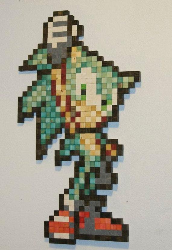 Items similar to Powerpuff Girls Bubbles Wooden Pixel Wall