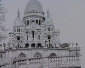 Sacre Coeur Basilica, Paris, France- Large architectural print- Art Reproduction of Pen and Ink original