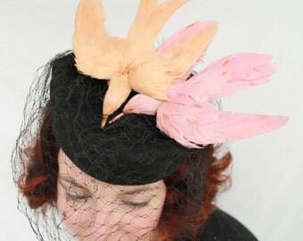 Custom Order: Vintage 1940s-Style Wool Felt Tilt Hat with Double Faux Birds & Vintage Veiling