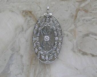 Antique Edwardian Diamond Pendant Platinum Circa 1910