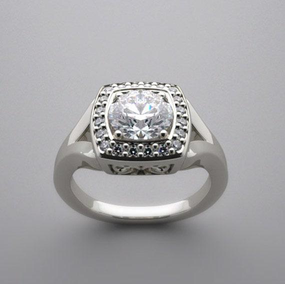 engagement ring setting antique style halo design