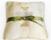 Legend of Zelda Inspired Ring Bearer Pillow Wedding Gold Hylian Crest Embroidered - Custom Available