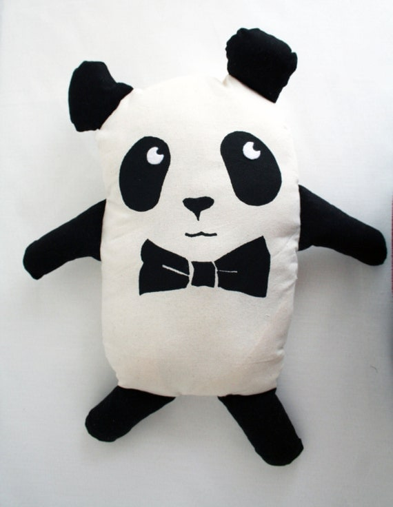 chic panda plush with bow tie