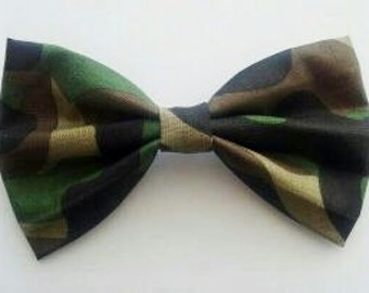 Big Army Military Camouflage Fabric Hair Bow Clip Barrette