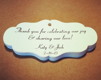"30 Personalized Favor Tags, 3"" x 1.5"", Die cut tags, Wedding tags, Thank You tags, Favor tags, Gift tags"