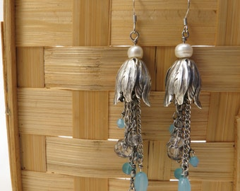 Tulip and Raindrop Dangle Earrings - READY TO SHIP - Blue and Silver Flower Dangle Earrings - Handmade Jewelry
