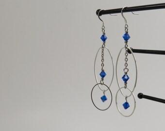 Sapphire Crystal Dangle Earrings - READY TO SHIP - Simple Blue Earrings