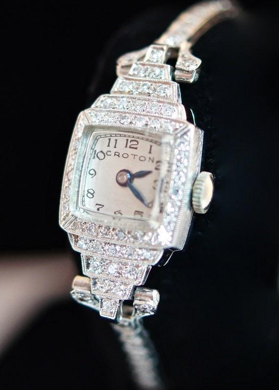 Vintage Ladies Croton Platinum Diamond Watch Womens