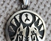 Beautiful Southwestern Sterling Silver pendent with hand carved Howling Wolves, gift, pendent,  handmade, unique, women's jewelry