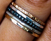Mixed Metal Ring Gold & Sterling Silver Stack Ring Set