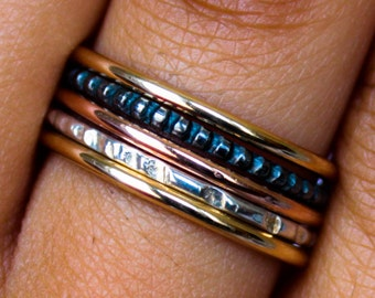 Gold and Silver Ring Set