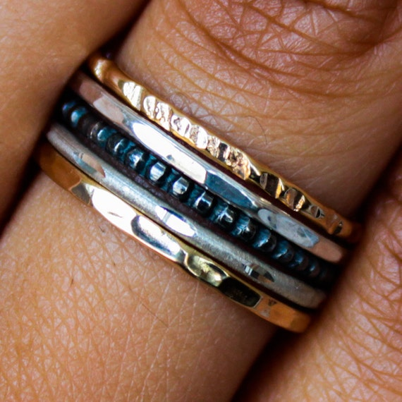 mixed metal stacking rings set gold sterling silver stack. Black Bedroom Furniture Sets. Home Design Ideas