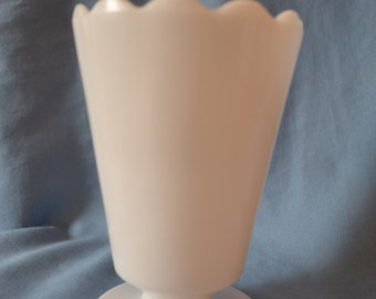 Vintage Milk Glass Vase with Scalloped Rim