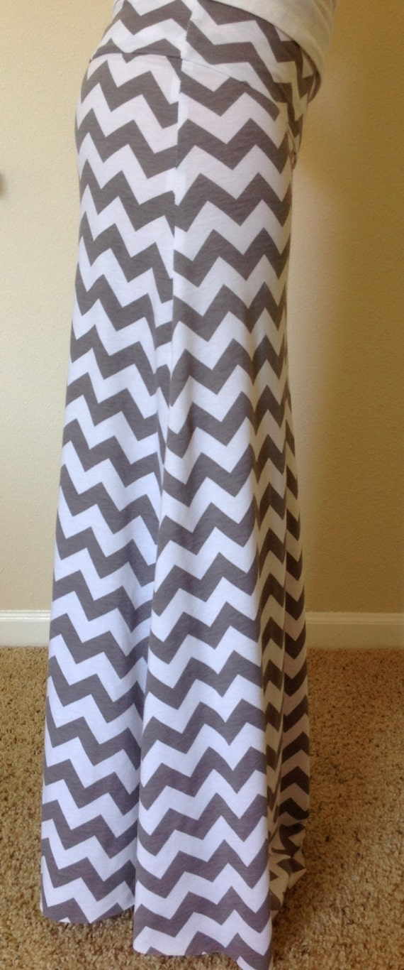 gray and white chevron maxi skirt summer skirt by
