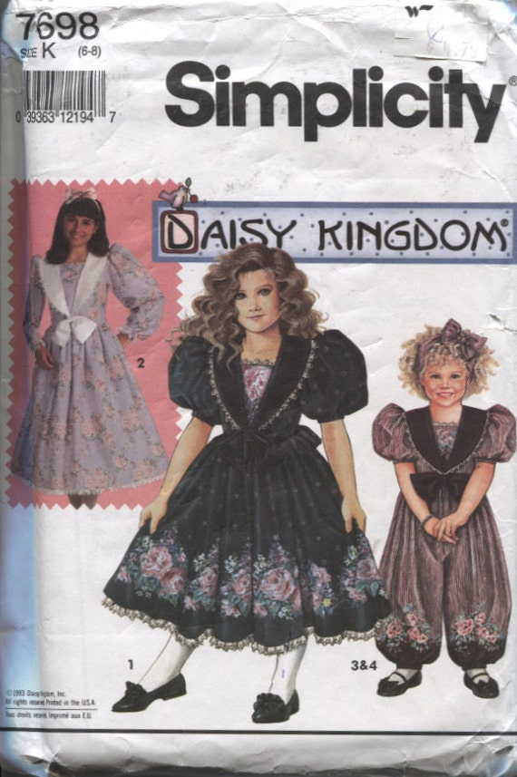 Simplicity 7698, Daisy Kingdom Girl's Lined Bodice, Lace Trim, Back Ties, Gathered skirt Dress and Romper Pattern Sizes 6 to 8