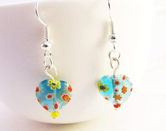 Blue Millefiori Earrings, Blue Flower Earrings,  Blue Heart Earrings