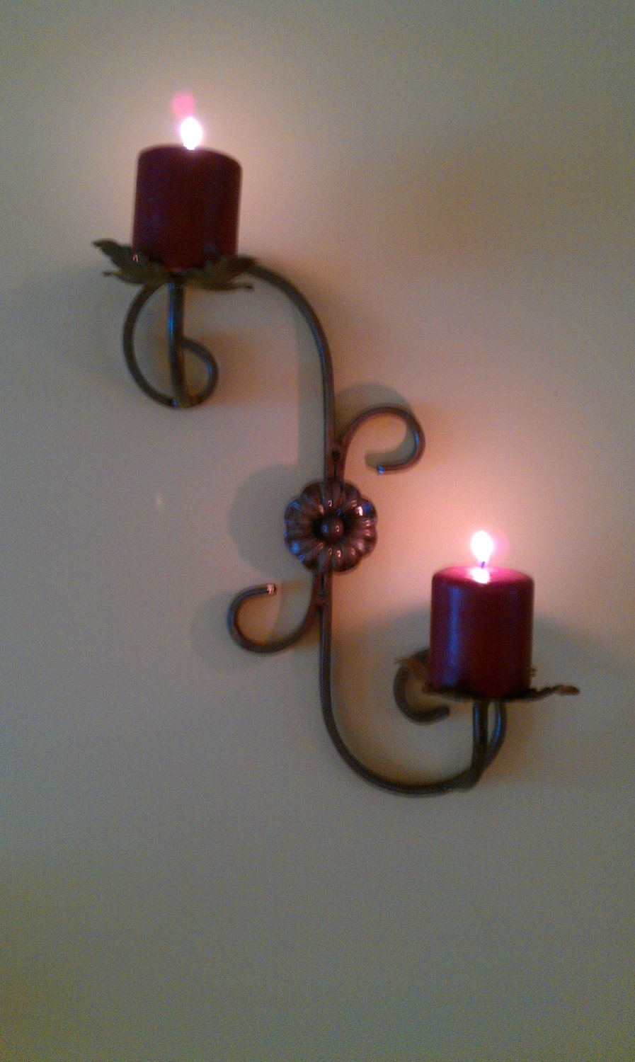 Wrought Iron Wall Decor Candle Holders : Wrought iron wall mounted candle holder