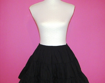Black Cotton Three Tiered Goth Lolita Steampunk Petticoat - One Size