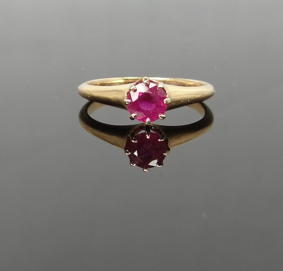 Sweet Victorian Rose Gold and Pink Sapphire Simple Engagement