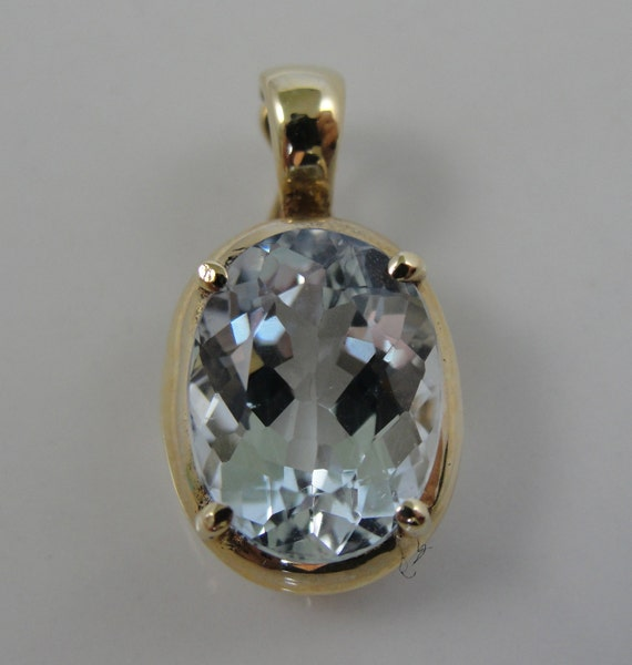 Large Aquamarine Solitaire Pearl Enhancer Pendant In By