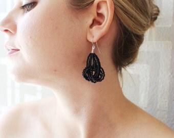 Black Earrings, knot black earrings, Seed Bead earrings, beaded earrings, statement black earrings, jet black earrings, bridesmaid gift