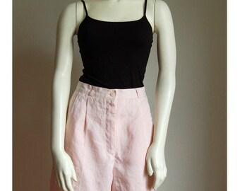 Pale Pink High Waist Linen Shorts