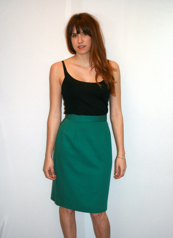 vintage high waisted green pencil skirt small