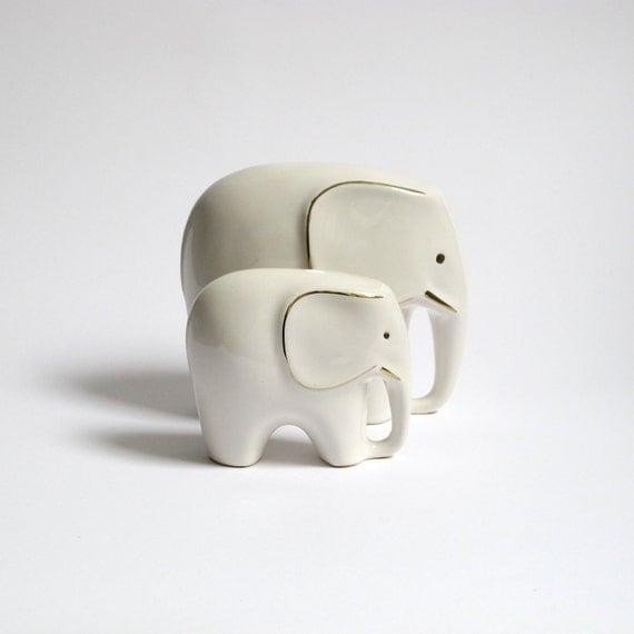Set Of 2 Mid Century Elephant Figurines White Ceramic