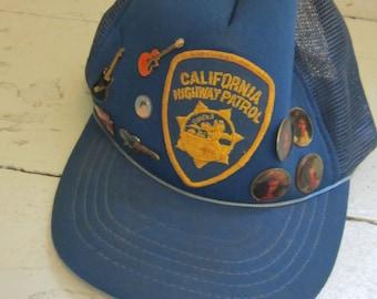 SALE!, 1980's, California Highway Patrol, Cap,  Vintage, Van Halen, David Lee Roth, ZZ Top, Lapel Pins