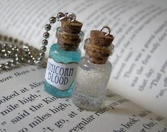 Unicorn Blood 1ml Glass Bottle Necklace - Glass Vial Pendant - Unicorn's Blood Cute Magic Charm