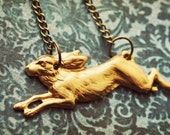 Watership Down ~ a charming whimsical woodland themed brass chain necklace with a running rabbit inspired by the Richard Adams novel