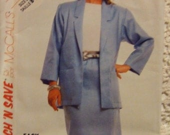McCall's Pattern no. 2966 size B  14  16   18  Ladies Skirt and Jacket 1987