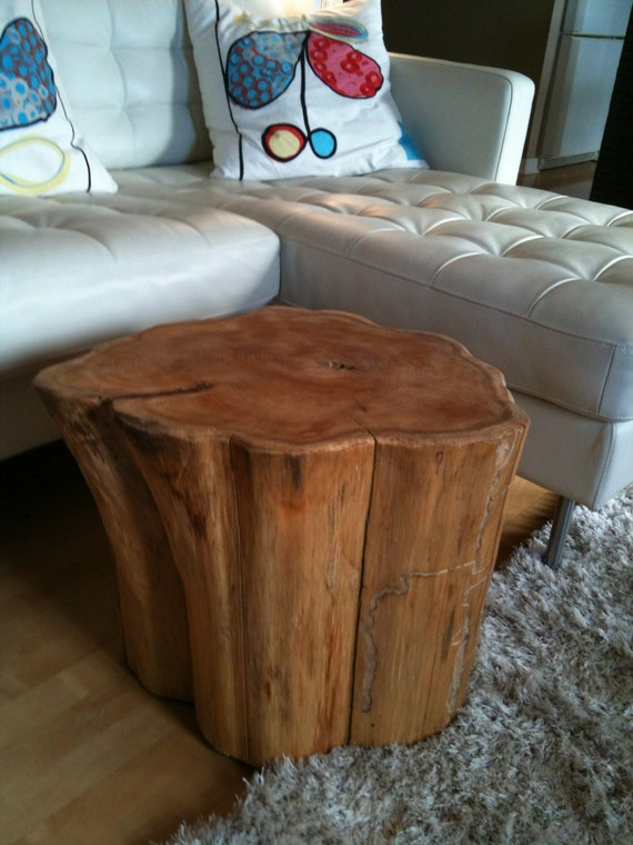 Eco friendly wood stumps side tables waiting by serenitystumps for Wood stump end table