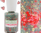 Lunar Love Song Glitter Nail Polish - Light Jade Green Polish With Pink, Orange and Gold Glitter - Handblended Sparkly Nail Color