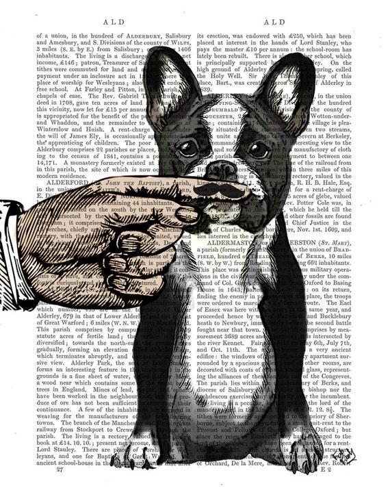 French Bulldog Finger Mustache - Mixed Media wall art wall decor Wall Hanging Frenchie Dictionary print Finger Moustache