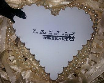 "100 WEDDING WISH TAGS ""Key To My Heart""  With Black Satin Ribbon"