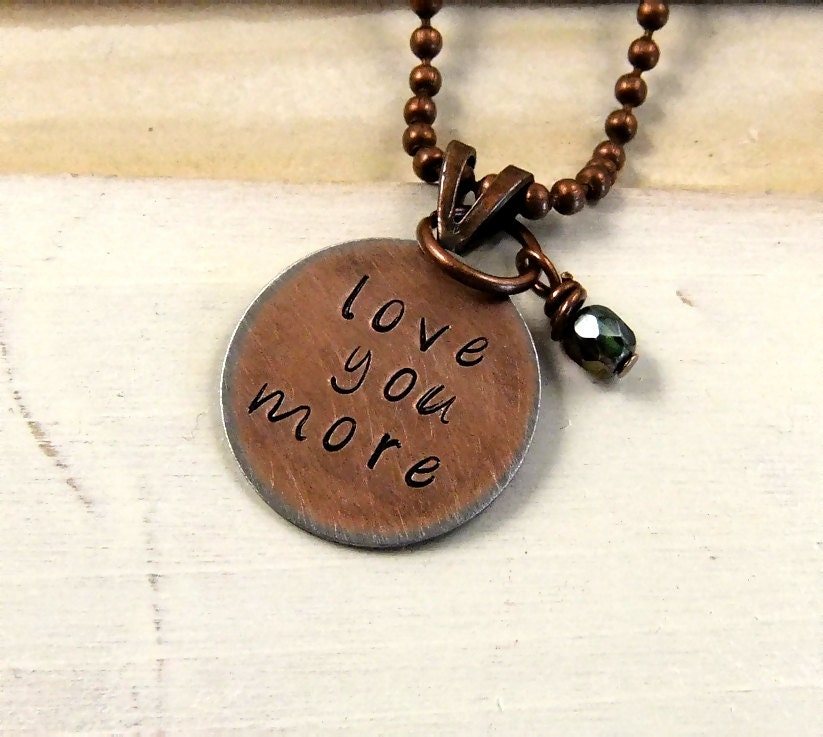 Love you more stamped necklace hand stamped jewelry for How do you make hand stamped jewelry