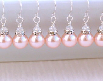 Pink Set Of 6 Earrings Bridesmaids Gift Jewelry Glass Pearl Beads Rhinestone Crystal Wedding Party Jeaded Jewelry Pink Jewelry