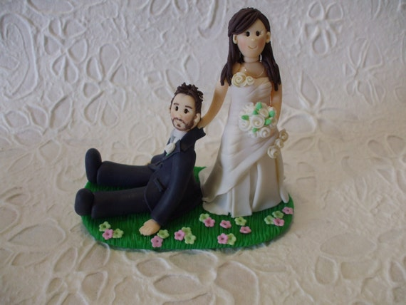 bride dragging groom wedding cake toppers personalized dragging groom wedding cake topper 12132