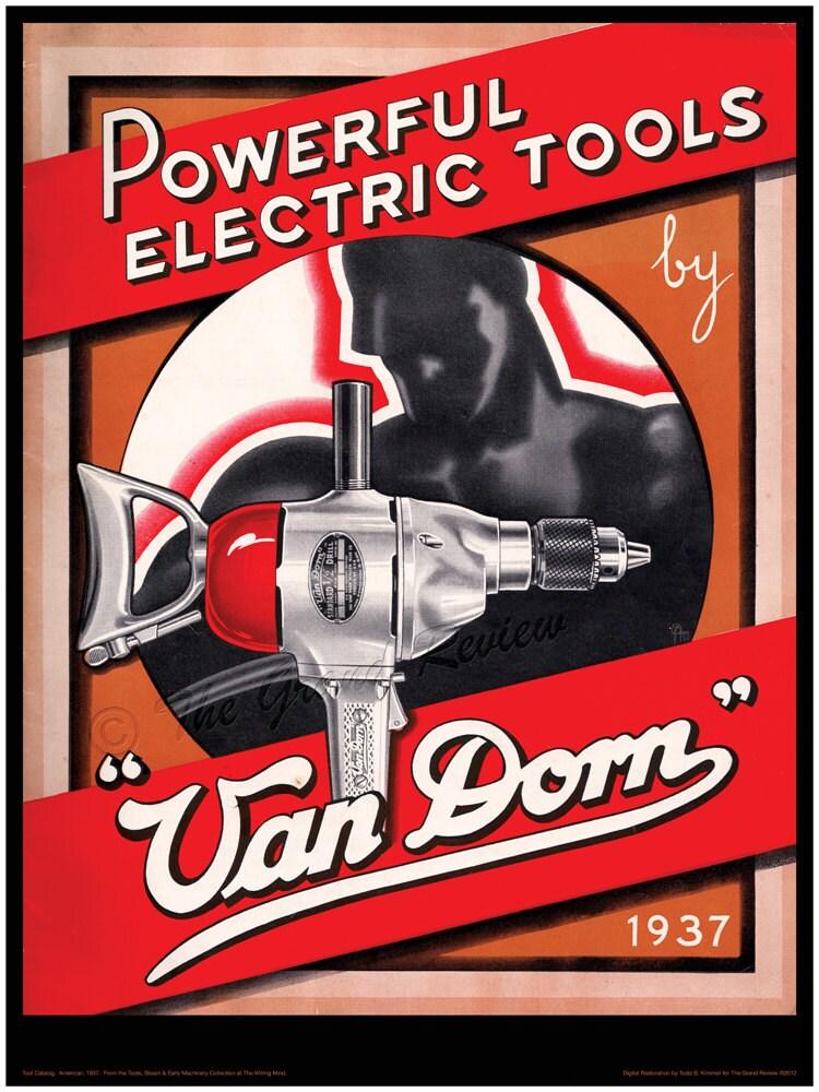 Vintage Tool Print Van Dorn Power Tools Manly Man Meets