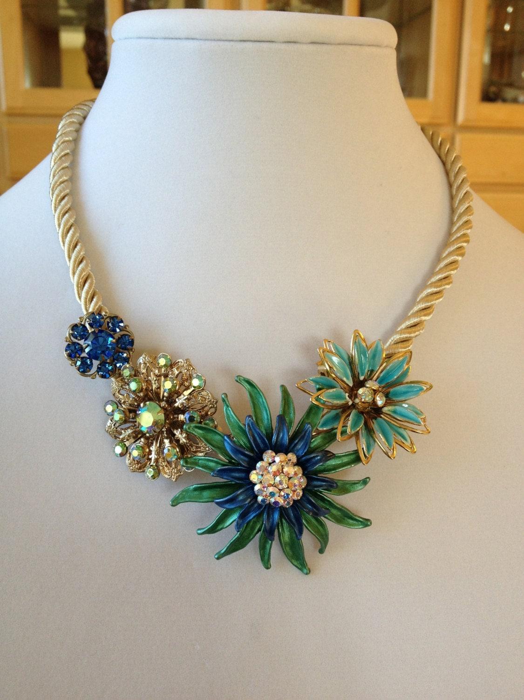 Repurposed Vintage Flower Brooch Necklace Flower Statement