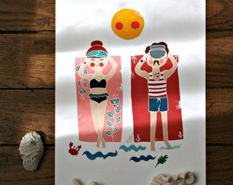 Beach Print. Vintage Inspired Summer Print