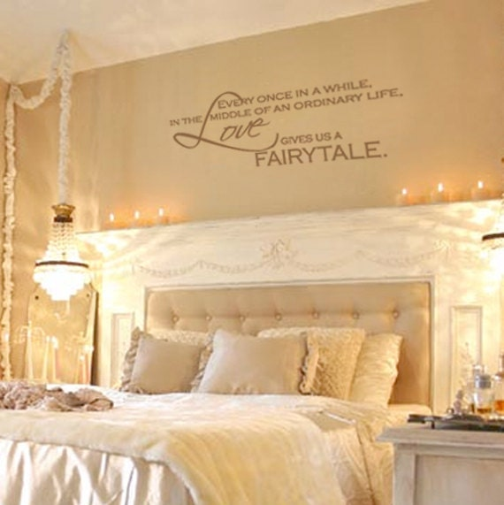 items similar to love gives us a fairytale vinyl wall decal quote lettering decor romantic. Black Bedroom Furniture Sets. Home Design Ideas