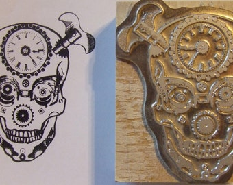 "Letterpress Printing Block ""Steampunk Sugar Skull"" - Letterpress Blocks - Print Blocks - Mounted Letterpress Block - Art Stamp - Day of Dead"