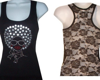 New Rhinestone AFRO Girl Lace Back Tank tops Shirt Blacks Size:S, To XL...Free Shipping