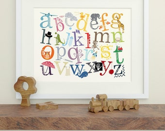 Alphabet Print, Alphabet Art with Decorative Characters - Alphabet Decor, Nursery Art, Nursery Decor